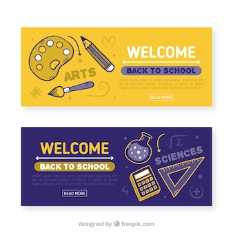 Künstlerische hand zurück zu schule banner gezogen