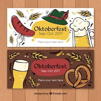 Künstlerische handgezeichnete banner für oktoberfest