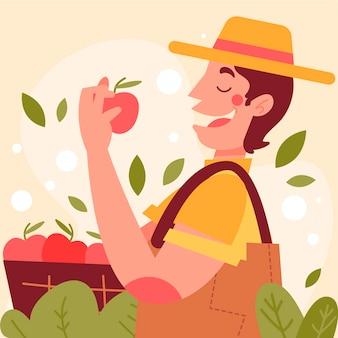 Künstlerische illustration mit landwirtschaftlichem design