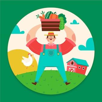 Künstlerische illustration mit landwirtschaftsthema