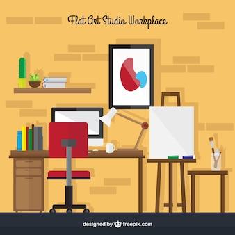 Künstlerische innenraum studio in flaches design