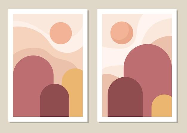 Künstlerische landschaftswand. abstrakte geometrische landschaft mit bergen