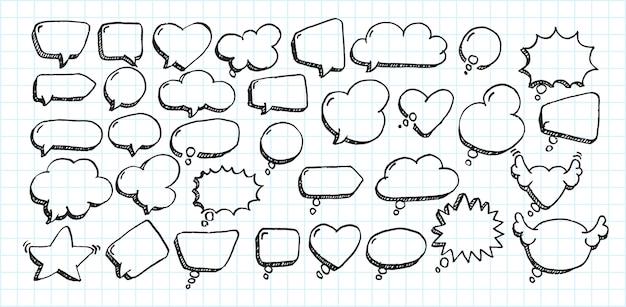 Künstlerische sammlung des hand gezeichneten komischen ballons der gekritzelart