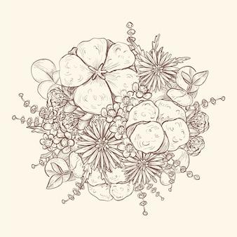 Künstlerische zeichnung des weinleseblumenstraußes