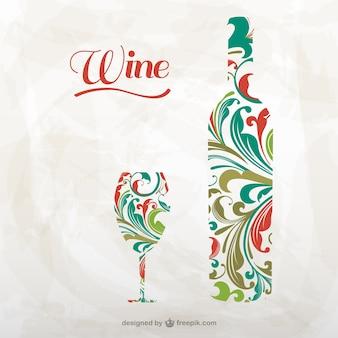 Künstlerischen weinflasche und glas