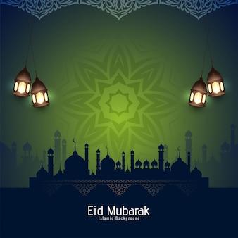 Künstlerischer eid mubarak islamisches festival religiöser hintergrund designvektor