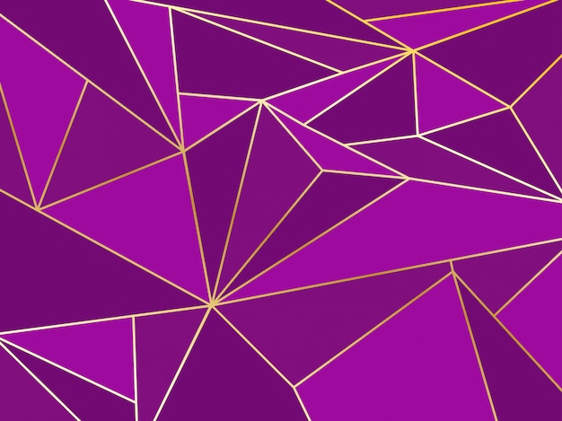 Künstlerischer geometrischer hintergrund des abstrakten purpurroten polygons mit goldlinie