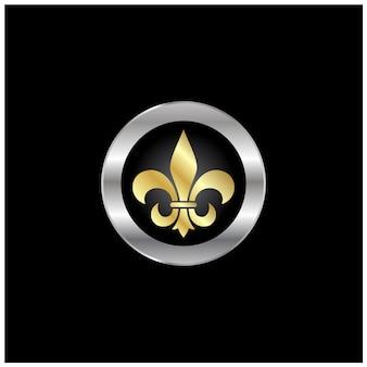 Künstlerischer goldener silberner logoentwurf fleur de lis