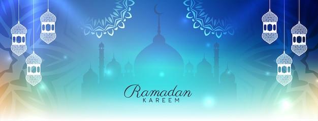 Künstlerischer islamischer ramadan kareem kultureller fahnenentwurfvektor