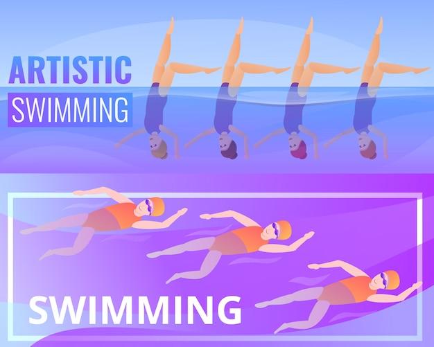 Künstlerischer schwimmenillustrationssatz. karikaturillustration der künstlerischen schwimmens