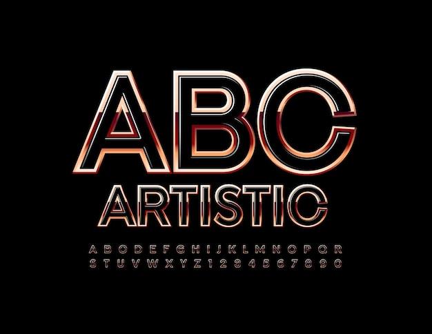 Künstlerisches alphabet schwarz und rotgold schriftart glänzend stilvolle buchstaben und zahlen gesetzt