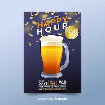 Künstlerisches design der happy hour-vorlage