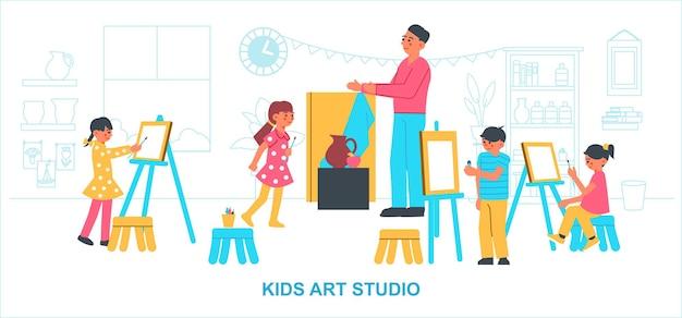 Künstlerisches kreativstudio kinderkomposition mit innenlandschaft und kinder, die gemälde unter aufsicht eines erwachsenen lehrers zeichnen