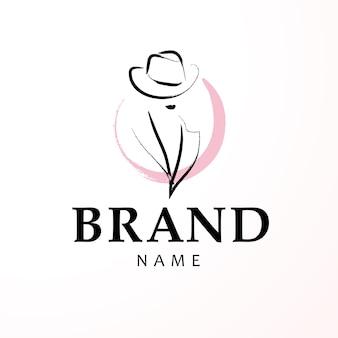 Künstlerisches logo mit handgezeichneter dame im hutporträt lokalisiert.