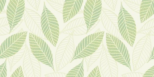 Künstlerisches nahtloses muster mit abstrakten blättern. modernes design für papier, bezug, stoff, inneneinrichtung und andere benutzer.