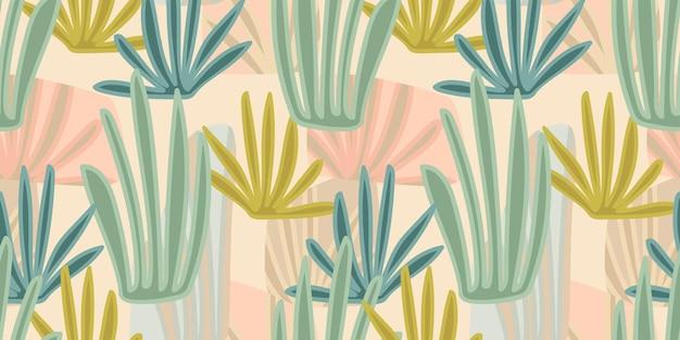 Künstlerisches nahtloses muster mit abstrakten blättern. modernes design
