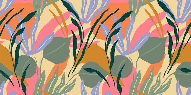 Künstlerisches nahtloses muster mit abstrakten blättern.