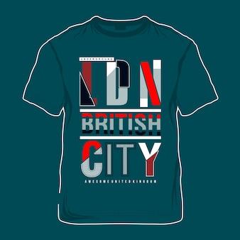 Künstlerisches t-shirt der britischen stadt künstlerisches
