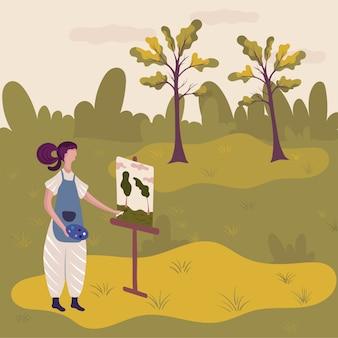 Künstlermalerei-naturlandschaft im freien, vektorillustration