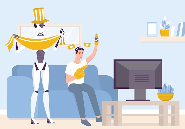 Künstliche intelegenheit als teil der menschlichen routine. inländischer persönlicher roboter sehen fußball mit mann. ki hilft menschen in ihrem leben, zukünftiges technologiekonzept.