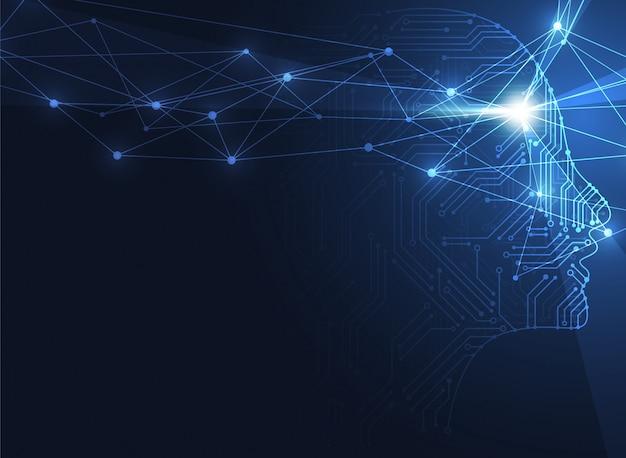 Künstliche intelligenz. abstrakter geometrischer hintergrund des menschlichen kopfes