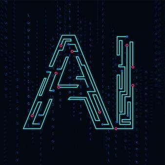 Künstliche intelligenz. abstraktes geometrisches mit leiterplatte
