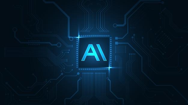 Künstliche intelligenz, ai-technologie-hintergrund hi-tech-innovation abstrakte hintergrundvektorillustration
