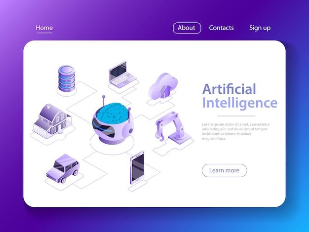 Künstliche intelligenz, big data, cyber mind, maschinelles lernen, digitales gehirn, cyberbrain.