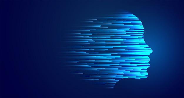 Künstliche intelligenz des glühenden blauen gesichts der technologie