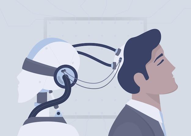 Künstliche intelligenz des roboters, die mit drähten mit dem menschlichen gehirn verbunden ist. erweiterte menschliche intelligenz. zukünftiges technologiekonzept. illustration