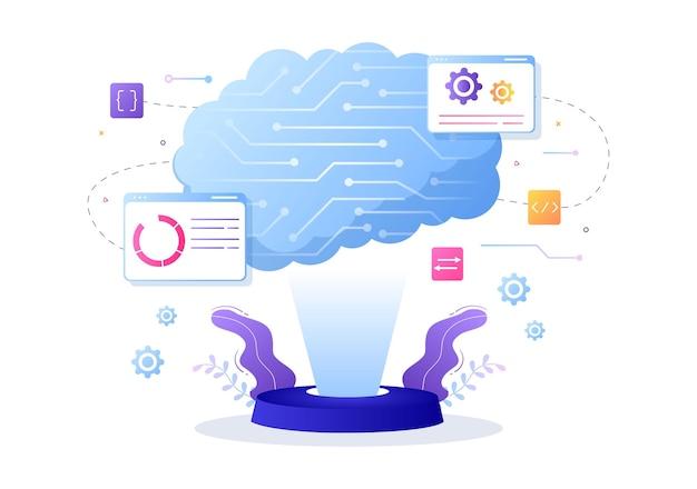 Künstliche intelligenz digital brain technology and engineering concept mit programmierdaten oder -systemen, die in einem wissenschaftlichen kontext eingerichtet werden können. vektorillustration