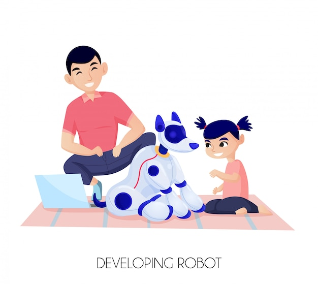 Künstliche intelligenz für kinderentwicklung kleines mädchen während der kommunikation mit roboterhundillustration