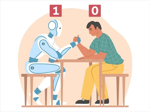 Künstliche intelligenz gegen menschliche, flache vektorillustration. armdrücken-kampf zwischen robotermaschine und geschäftsmann.
