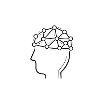 Künstliche intelligenz gehirn handgezeichnete umriss doodle symbol. gehirntechnologiekonzept der künstlichen intelligenz. vektorskizzenillustration für print, web, mobile und infografiken auf weißem hintergrund.
