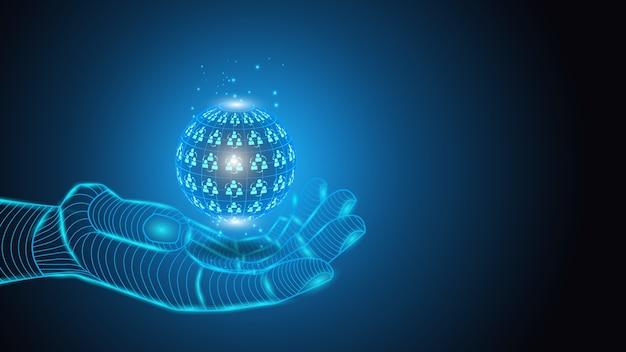 Künstliche intelligenz hält planeten in händen