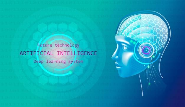 Künstliche intelligenz im kopf eines humanoiden mit neuronalem netz denkt. roboter mit weiblichem gesicht. ai with digital brain trainiert in big data-verarbeitung, informationsanalyse und maschinellem lernen.