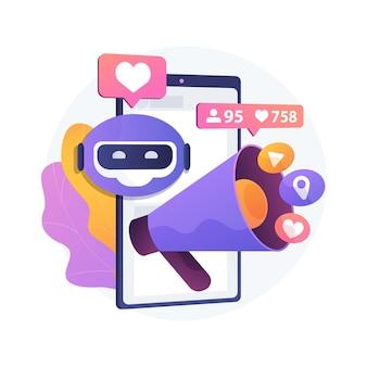 Künstliche intelligenz in der abstrakten konzeptillustration der sozialen medien