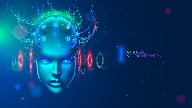 Künstliche intelligenz in humanoiden kopf mit neuronalen netzwerk denkt