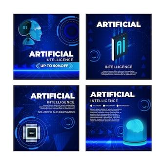 Künstliche intelligenz instagram beiträge sammlung Kostenlosen Vektoren