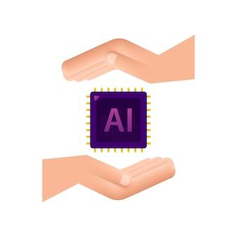 Künstliche intelligenz landing page ai-symbol mit händen website-vorlage
