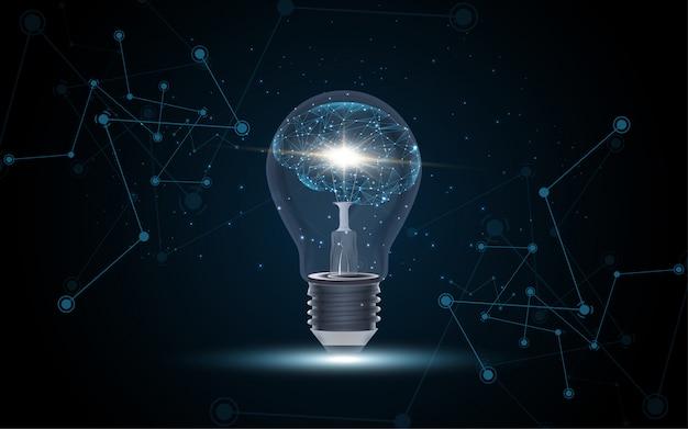 Künstliche intelligenz menschliches gehirn in glühbirne