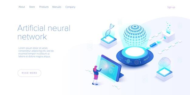 Künstliche intelligenz oder neuronales netzwerkkonzept in isometrischer form. neuronet- oder ai-technologie-hintergrund mit roboter und menschlicher frau. web-banner-layout-vorlage.