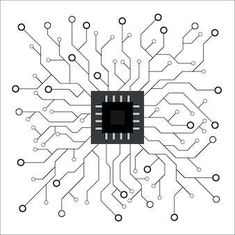 Künstliche intelligenz schwarz-weiß-hintergrund. maschinenprogrammierung und ai-chip auf dem computer. schaltung motherboard moderne technologie. vektor-illustration