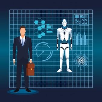 Künstliche intelligenz technologie mann und cyborg virtual reality