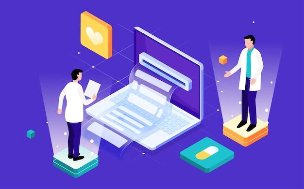 Künstliche intelligenz technologie medizinische illustration online-diagnoseberatung arzt poster