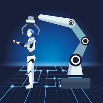 Künstliche intelligenz technologie roboterarm cyborg maschinenproduktion