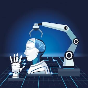 Künstliche intelligenz-technologie roboterarm cyborg und hand mechanisch