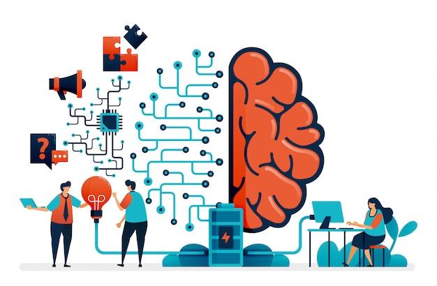Künstliche intelligenz zur problemlösung. künstliches gehirnnetzwerksystem. intelligence-technologie für frage und antwort, ideen, abschluss der aufgabe, förderung.