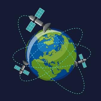 Künstliche satelliten, die den planeten erde umkreisen