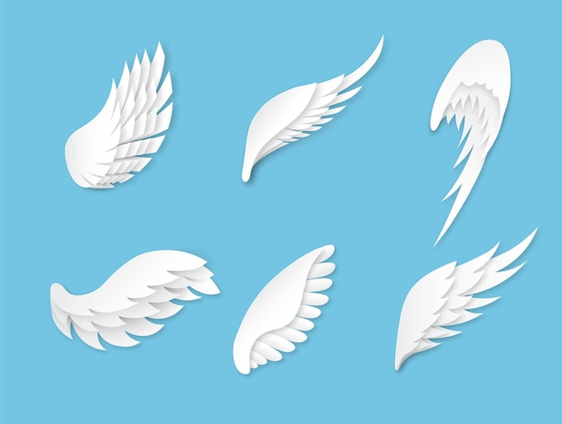 Künstliche weiße flügelformen der verschiedenen formen